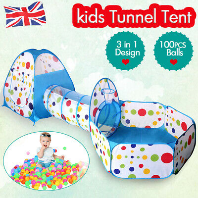 3 in1 Portable Childrens Kids Baby Play Tent Tunnel Ball Pit Playhouse Pop Up UK