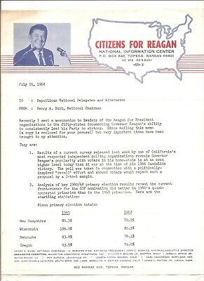 1968 Citizens for Reagan (for president) publicity sheet