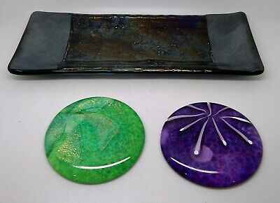 Beautiful Studio Art Dichroic Glass Lot Signed Tray & Two Paperweights
