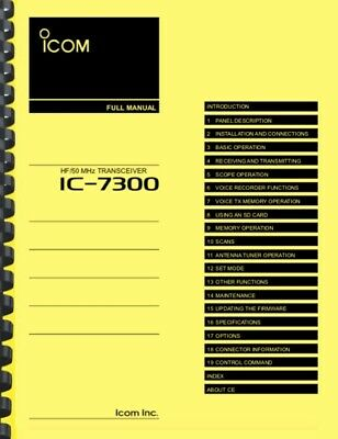 Card Stock Covers /& Full Color Icom IC-7300 Full Instruction Manual