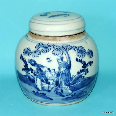 Chinese Porcelain 20-19Thc Blue White Double Circle Marked Ginger Jar Ca 1900
