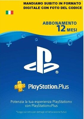 PLAYSTATION PLUS 12 Mesi - 365 GIORNI PSN PS4 PS3 PS Vita Abbonamento- ITALIA