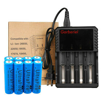 Lot 18650 Battery Li-ion 3.7V Rechargeable Charger For LED Flashlight US