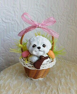 Bichon Frise Easter Basket Collectible Handmade WRC Resin Sculptures by Raquel