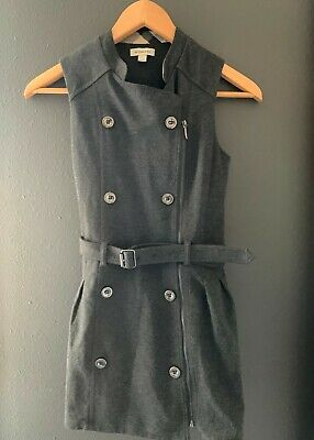 size 10 girls gray BURBERRY VEST new excellent condition nordstrom zipper button