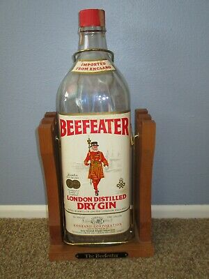 Beefeater Gin 1 Gallon with Wood Stand Tilt Pour England