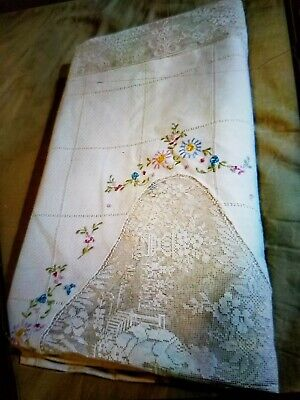 Antique Vtg French Tambour Lace queen/king Embroidered XL coverlet Bed Spread