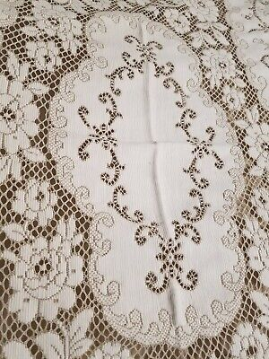 Antique Vintage Madeira French Floral Lace 52 ×82 Table Cloth linen