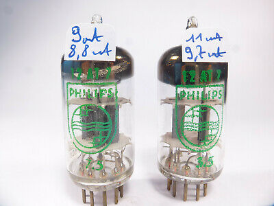 two ECC81 12AT7 Philips code Tk2 pair tubes matched near new old stock NOS