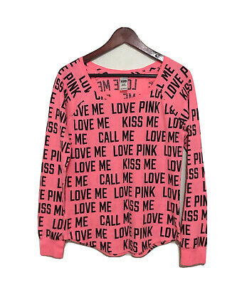 Victorias Secret Pink Thermal Sleep Top Kiss Love Logo Sz M