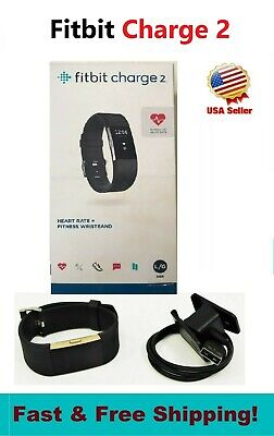 Fitbit Charge 2 Black Small Large Fitness watch Activity Tracker HR New Open BOX