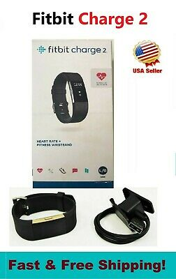 Fitbit Charge 2 Black Large Fitness watch Activity HR Monitor FB407SBKL in BOX