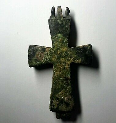 RARE Ancient Byzantine Bronze Christian Reliquary Cross, 8th-12th Cent. AD