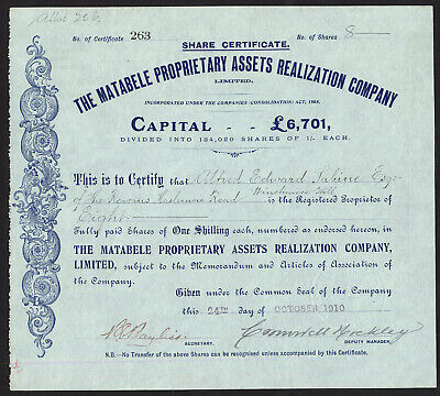 Rhodesia: Matabele Proprietary Assets Realization Co. Ltd., 1/- shares, 1910