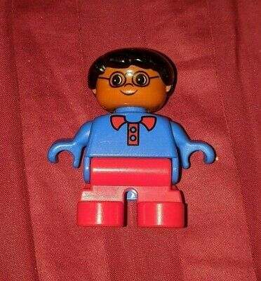 *NEW* LEGO DUPLO Small Child Girl Figure Minifigure Blond Pig Tails Red Overalls