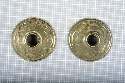 Antique Brass Escutcheons for Teardrop Drawer Pull. Pair matching.