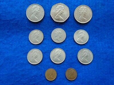Job Lot Of British Coins, 50P, 10P, 5P And 1/2P Pieces