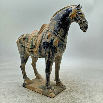 "9.1"" Collect Old Chinese Ceramics Tang Sancai Pottery Ancient War-horse Statue"