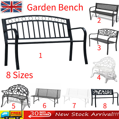 Garden Bench 2/3 Seater Steel Wooden Outdoor Patio Seating Furniture Seat Black