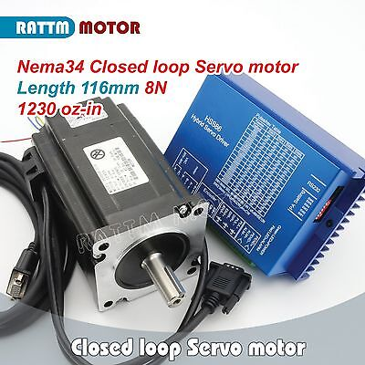 【EU】 2 x Nema34 8N.m 116mm Stepper Servo Motor Closed Loop &HSS86 Driver CNC Kit