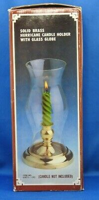 "Vintage Solid Brass Hurricane Candle Stick Holder with Glass Globe 8.75"" tall"