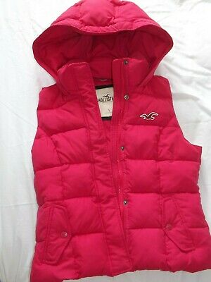 hollister pink hooded gillet / body warmer insulated ladies / girls size large