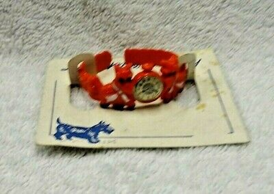 Scotty Scottie Dogs With A Clock Image Red Plastic Little Miss Cuff On Card