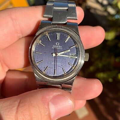 Omega Automatic Geneve Blue Dial Steel Men's Vintage Watch Rare Stunning