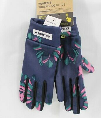 Burton Touch N Go Touch Screen Liner Gloves Womens Small Dress Blue Stylus New