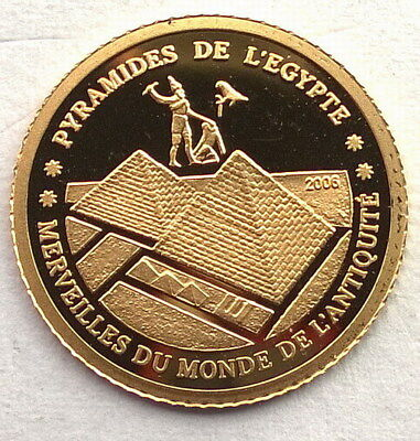 Ivory Coast 2006 Pyramides 1500 Francs Gold Coin,Proof