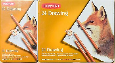 Derwent 12 or 24 pc soft Drawing pencils tin case NEW made in UK