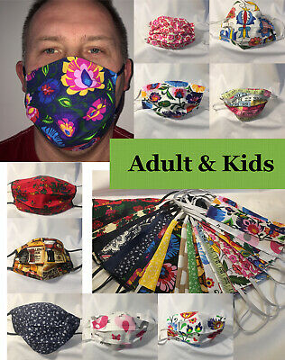 Face mask cotton  Hand Made Protection  reusable washable Adult & Kids