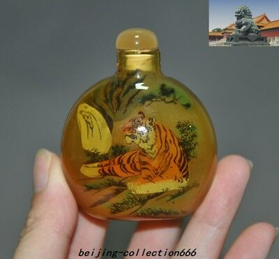 China dynasty glass internal Hand-painted coin animal tiger statue snuff bottle