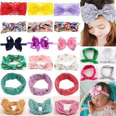 Baby Girls Toddler Headband Ribbon Bowknot Lovely Hair Band Wrap Headwear Gifts