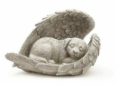 Sleeping Dog in Angel Wings Pet Memorial Statue