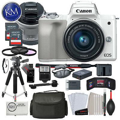 Canon EOS M50 Mirrorless Digital Camera with 15-45mm Lens (White) Premium Bundle