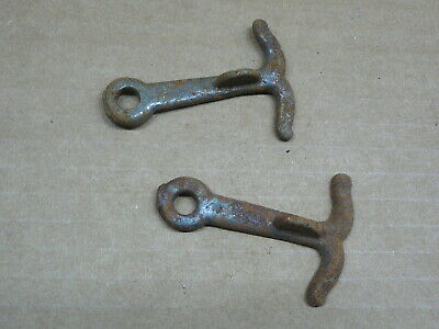 """2 - ANTIQUE CAST IRON THUMB LATCHES for GATE BARN SHED DOOR HASPS - 2.25""""x 1.25"""""""