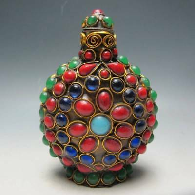 Exquisite CHINESE TURQUOISE CORAL BEADS HANDMADE SNUFF BOTTLE RT ui607