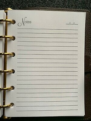 Weekly insert and Lined Notes Pages set fits small pocket 6 ring agendas