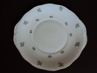 Vintage Bone China Cake Plate Gainsborough White Green Gold Floral