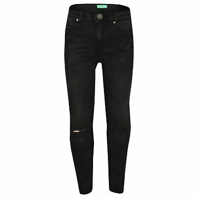 Girls Stretchy Jeans Kids Jet Black Denim Ripped Pants Frayed Trousers 5-13 Year