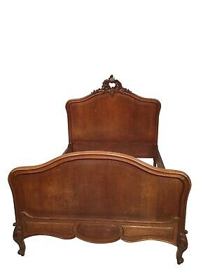 French Oak Antique Bed & Nightstand, Simple French Design, 1920's