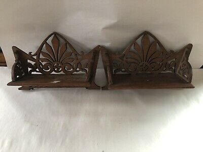 Antique Pair Of Matching Wood  Hand Cut Shelves