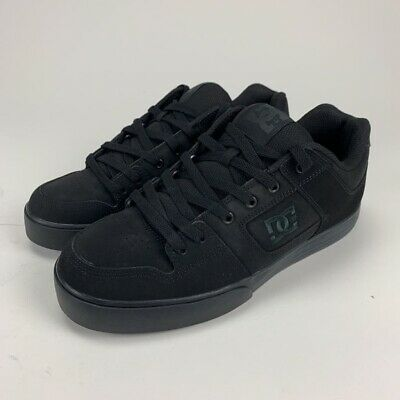 DC Shoes Mens Pure Skate Shoes Black Low Top Lace Up Leather Sneakers 11