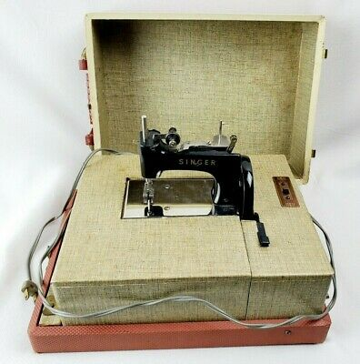 Antique Singer **WORKING** Child's Mini Electric Sewing Machine Portable In Case