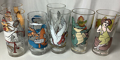 Vintage Pepsi Glasses Warner Bros & The Rescuers Lot Of 7 With 2 Doubles