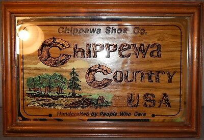 Chippewa Shoe Country USA Handcrafted by People Who Care Reverse Paint Sign Rare