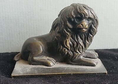Small Victorian Bronze figure of a Lion, paperweight, cabinet bronze