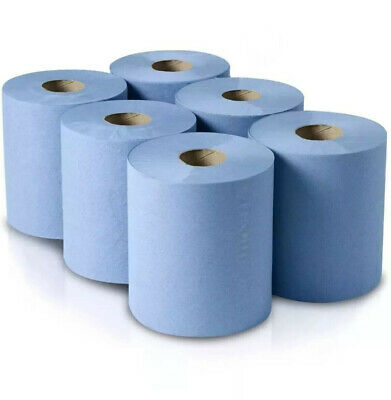 Blue Rolls 6 Pack 2 Ply Embossed Centre Feed Paper Wipe Rolls 110m Rolls BIGGER