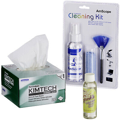 AmScope Microscope & Camera Cleaning Kit for Lens, Body & TV or Computer Screens